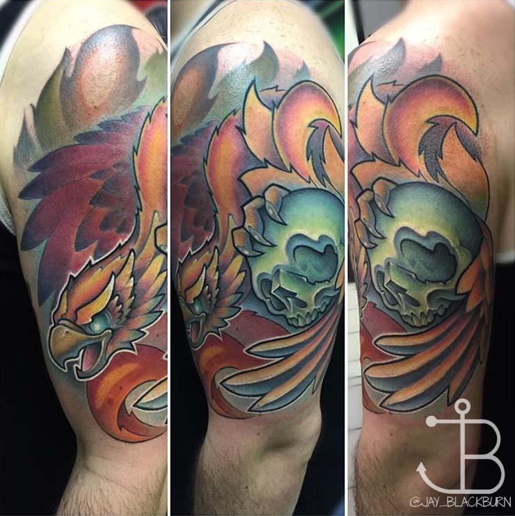New school phoenix with skull tattoo by jay blackburn for Tattoo artist phoenix az