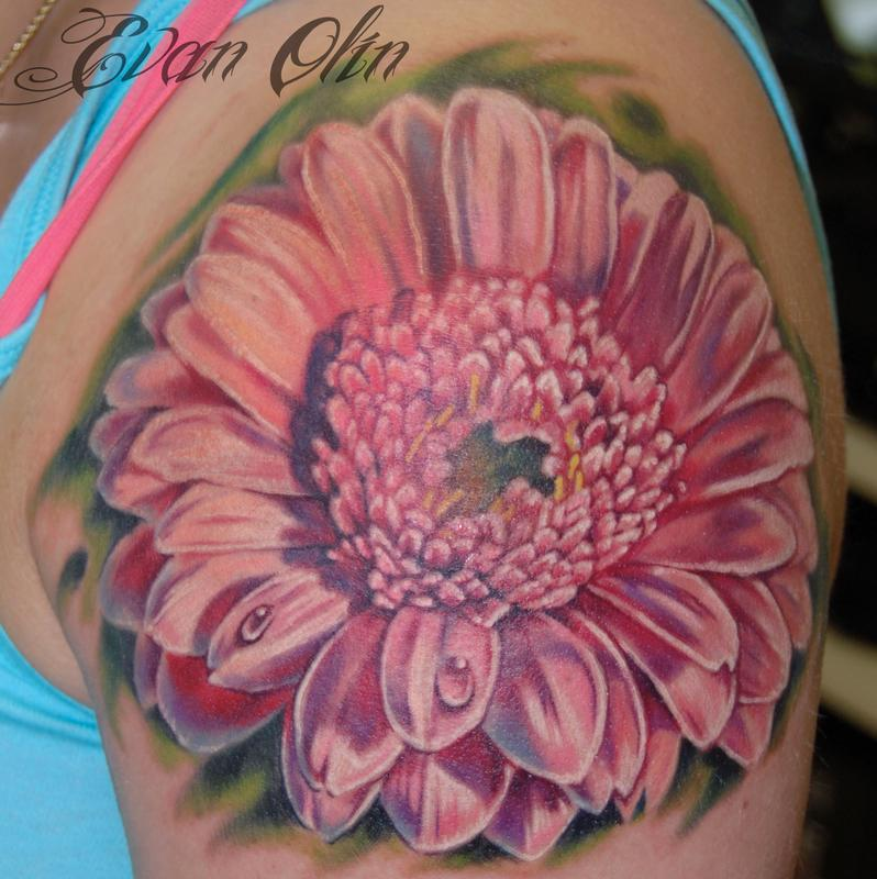 Realistic Daisy Tattoo: PowerLine Tattoo : Tattoos : Flower : Full Color Realistic