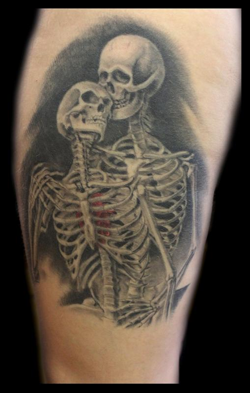 Skeletons in love by shane baker tattoos for Skull love tattoos