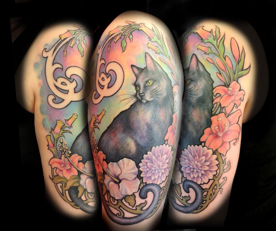 Art Nouveau Flower Tattoo: PowerLine Tattoo : Tattoos : Art Nouveau : Untitled