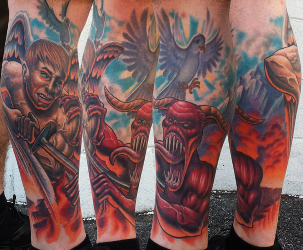 Good over evil leg sleeve freehanded no reference healed for Evil tattoo sleeve