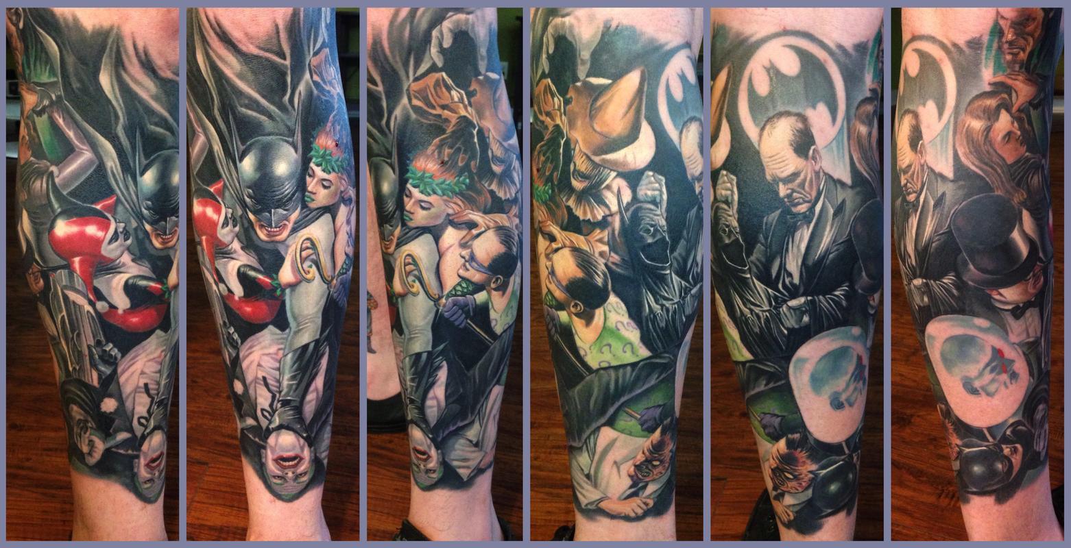 Alex ross batman leg sleeve healed by steve wimmer for Batman sleeve tattoo
