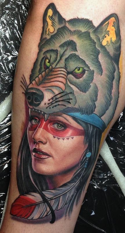 Indian girl and wolf by steve wimmer tattoonow for Indian woman tattoo
