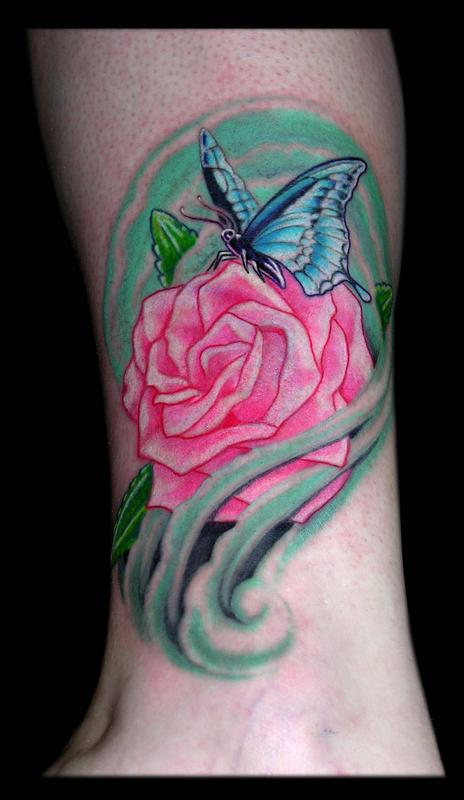 Butterfly and Rose by Aaron Goolsby : Tattoos