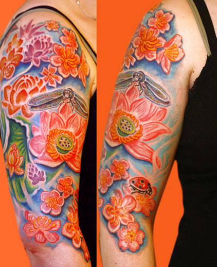 Hyperspace Studios Tattoos Flower Lotus Dragonfly Over